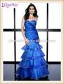 2015 novo design de longo frisado do querido da sereia em camadas de organza senhora vestidos de baile azul plissado