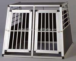 folding easy to assemble DOUBLE doors aluminum dog cage