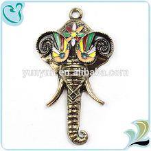 New Design Vintage Handmade Elephant Head Pendant Alloy For Jewerly Making