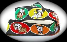 Comic Dogs Black, Red, Orange, Yellow and Green ribbon webbing Dog leash jacquard ribbon