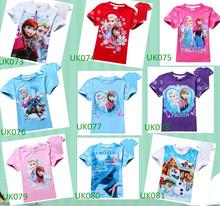 cheap frozen elsa anna kids girls short tshirts for 2-8 years girls tshirt mixed patterns hot frozen girls tshirts