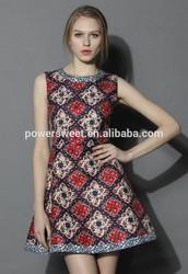 Retro Pattern sexy sleeveless Beaded Jacquard Glamorous round neck Dress