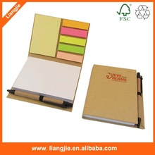 Office supply combined memo pads with pet index,sticky notes,eco ballpen