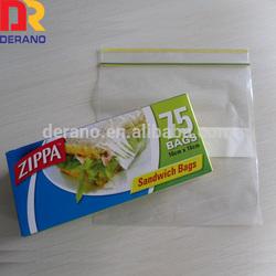printed sandwich zip lock plastic bag