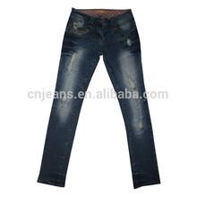 gzy de diseño de moda las mujeres lavar dril de algodón pantalones vaqueros de las mujeres arrancado de mezclilla pantalones vaqueros