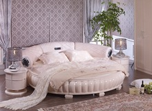 Modern Petal Design Ivory Music Round bed with speaker and screen (BF09-45030)