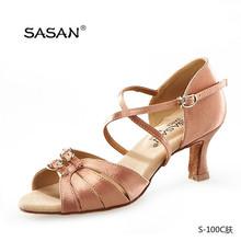 Medim Heel Ballroom Heel Double Buckle Cross Strap Woman Satin Dance Shoes
