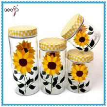 Kitchen storage jar printed glass food storage containers