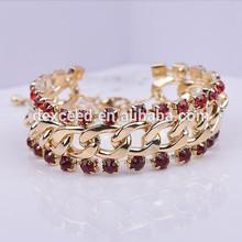 2015 New Free Shipping 18K Gold Plated Women Bangle Rhinestone Round Classic Bracelet Whole Sale (BL140007)