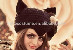 Hat Cat Ear Crochet Braided Knit Capsbeer,New Devil Cat Ear Horn Cap