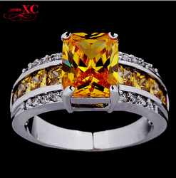 Wholsalehot sale luxury jewelry 10KT white gold plated copper Champagne topaz zircon ring