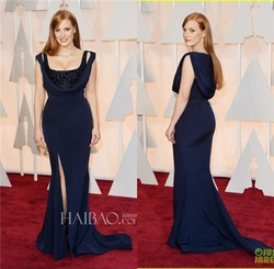 Jessica Chastain Sleeve Spandex Wholesale Cheap Made in China 2015 Oscar Side Slit Sleeveless Sequins Beaded Celebrity Dresses