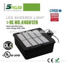 DLC LED shoe box light 5 year warranty led shoe box light UL led high pole shoebox light