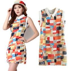 C85153A Korean Slim lapel chiffon print dress skirt Women Dress