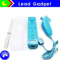Factory price wholesale light blue wired Remote nunchuck for wii u console built in Motion Plus