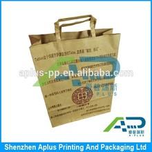 2015 Customer logo printing good price kraft paper bag, quality flat twist paper rope handle kraft paper bag