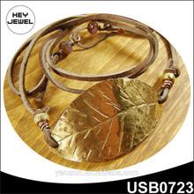 Large Gold Leaf Leather Wrap, Bohemian Wrap Bracelet, Single Leaf Cuff, Unisex Jewelry, Etched jewelry
