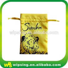 Yellow customized logo hair extension silk drawstring bags