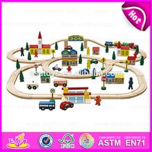 2015 Funny Kids toy vehicle toys railway train set,Diy cartoon wooden train railway set toy,100 pcs Wooden Toy Train Set W04D008