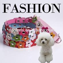 Diamond Studded Dog Collars Buckle Polka Dog Puppy Leather Neck Pet Dog Cat Collar Sweet Flower Studded Strap Collar