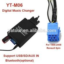Yatour Car radio USB/SD/AUX/Bluetooth mp3 decoder for Renault 8PIN(Yatour Digital Music Changer YT-M06)