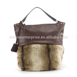 2015 new arrival fashion wholesale faux fur handbag, hobo bag for women