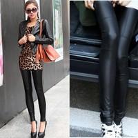 New hot girl Fashion PU Leather Legging Stretch Skinny Leggings Tight Casual Pants 10695