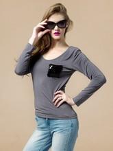 t shirt women wholesale embroider pocket t shirt