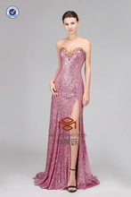 HMY-D012 High Customized Sequin Sweetheart Beaded Evening Gown Real Model Little Train