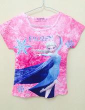 fashion frozen girls cotton print short t-shirts for 6-14 years girls t-shirts wholesale china