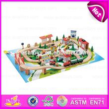 2015 Unique Cheap Wholesale Hot 3D Wooden Train Toy,Wooden Construction Track Set Toy Train,Kids 85/S wooden toy train W04D014
