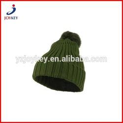custom pom pom ribbed knitted beanie hat