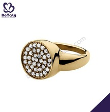 38 cz stone round shape gold plated sterling silver rings