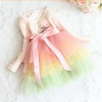 HFR-JTC074 2014 spring kids collection chilren tulle dress kids rainbow dress baby girls princess dress
