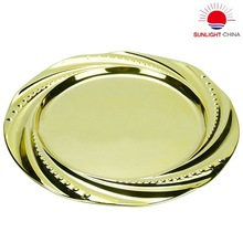 stainless steel serving tray/stainless steel round tray with antique brass surface/metal fruit plate