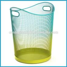 Fancy shape mesh metal trash can,colorful paper basket,waste bin