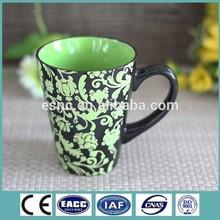 handpainting green flower engraving color glaze ceramic stoneware beer mug