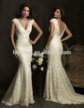 Cap Sleeves V Neck Lace Overlay Mermaid Floor Length Custom Make Long Formal Bridal Robe De Mariee CBW042 wedding gown lace