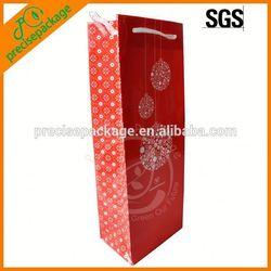 Beautiful paper wine drawstring bag with snowflake
