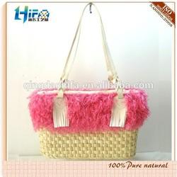 2015 Elegant Lady Handbag Straw Tote Bag Lace Straw Little Bag