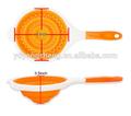 plegable de silicona naranja desagüe de la cocina alimentos vegetales de frutas fideos cesta colador colador con mango de pp