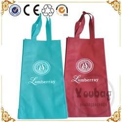 Custom logo screen printing non woven red wine bag