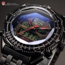 Shark LCD Digital Dual Time Red Alarm Stopwatch Stainless Steel Strap Clock Men Sport Watch