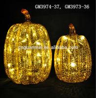 Holiday decoration LED lighted glass pumpkin decoration set