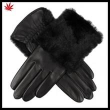 lady fashion rabbit fur back popular in Europe genuine black leather glove