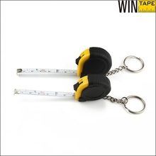 New Design cheap custom made rubber keychain with mini manganese steel tape measure