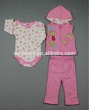 100%cotton baby 3pcs set/baby creeper/baby vest/baby pants