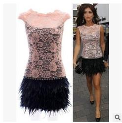 C85177A high quality lady Sleeveless Lace Feather Dress/2015 hot sale women dress