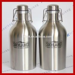 2L stainless steel mini beer keg amber glass beer bottle