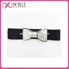 Woman bling bling rhinestone bow buckle waist stretch belt